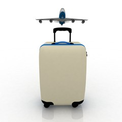 airliner and suitcase on white background