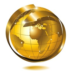 Mondo Globo d'Oro con Freccia-Globe Golden World-Vector