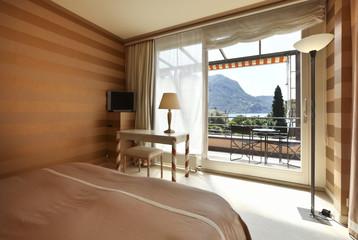 interior luxury apartment, beautiful bedroom lake view