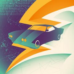 Muscle car illustration.