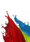 Red, blue, green paint splash isolated on white background