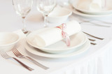 Details of a wedding table set for fine dining poster