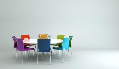 Wohndesign - Esstisch mit bunten Stühlen
