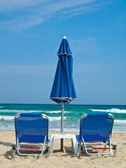 Sunbeds and umbrella at Paradise Beach Thasos