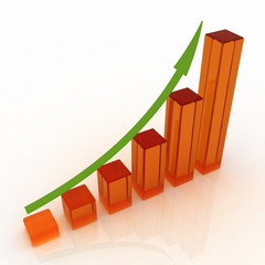 3D growing business graph