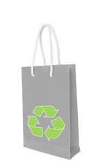 Gray recycle paper shopping bag