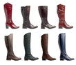 Collection of various types of low heel long boots over white