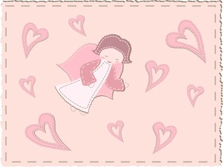 Quilted angel with hearts