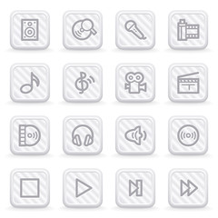 Audio video web icons on gray buttons.