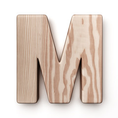 The letter M in wood
