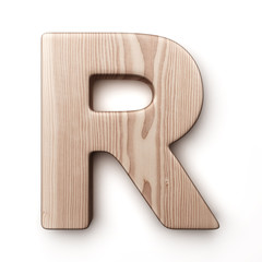 The letter R in wood