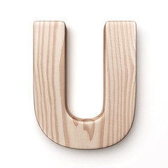 The letter U in wood