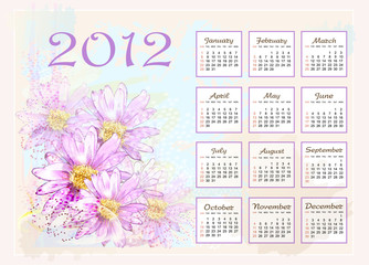 calendar 2012  with pink flowers