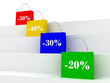 colorful sale bags with discount signs