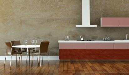 Wohndesign - Wohnküche braun