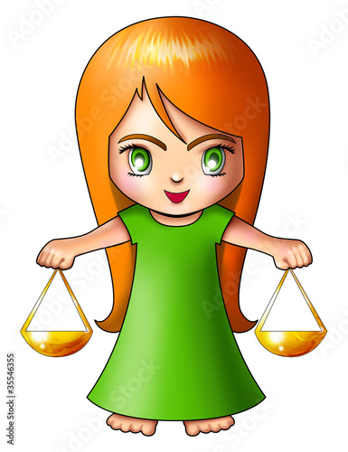 Illustration of Libra in cartoon style