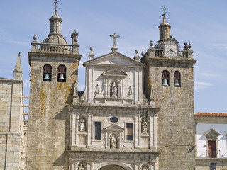 Viseu, town of Portugal. Historic district and cathedral view.