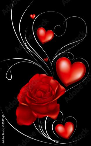 ciemne czerwone róże i serca