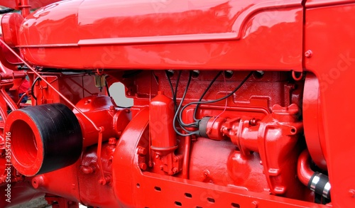 bright red tractor engine - 35547916