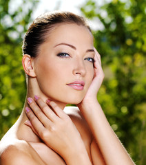 Beautiful woman with clean fresh skin of a face