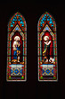 Painted glass interior in catholic church
