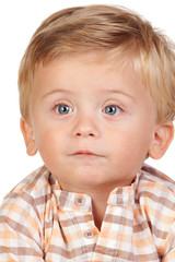 Beautiful blond baby with blue eyes