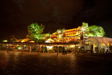 Beautiful night scence in Lijiang Ancient town, Yunnan China