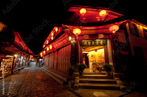 Beautiful night light in Lijiang Ancient town, Yunnan China