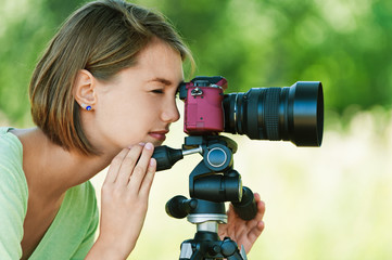 young woman photographs