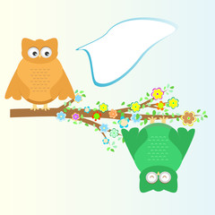 A cartoon cute owl sits on branch tree background