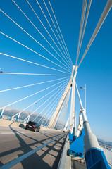 suspension bridge crossing Corinth Gulf strait, Greece