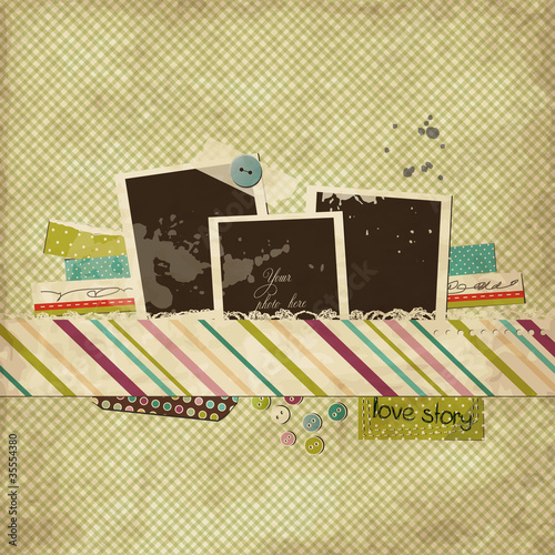 Scrap template with blank space for your photos