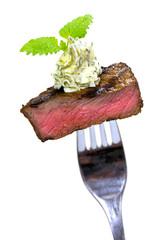 Steak Mignon-Gourmet Häppchen,Freisteller in Weiss