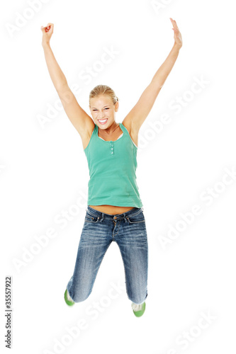 Jumping happy teen girl