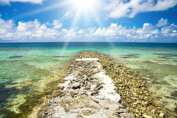 Jetty to the Blue Tropical Landscape