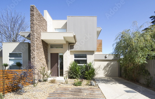 Facade of a contemporary double storey townhouse home