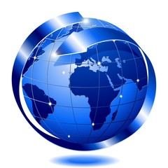 Mondo Globo Blu con Freccia-Blue Globe World with Arrow-Vector