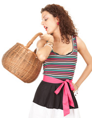 shopping young smiling woman with wicker basket