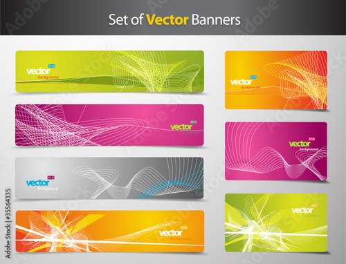 Set of abstract colorful web headers and gift cards.