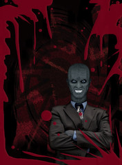 Evil businessman blood red poster
