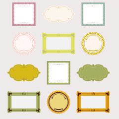 collection of design frames and labels