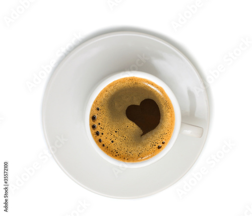 Coffee in white cup isolated on white background