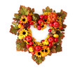 Autumn heart wreath isolated on white background