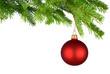 Rot leuchtende Christbaumkugel hängt am frischen Zweig