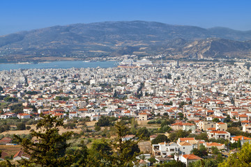 Volos city as it is seen from Portaria of Pelion in Greece.