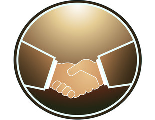 Brown handshake in round frame and light