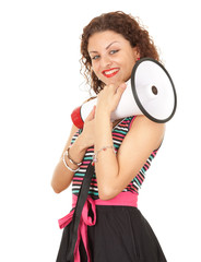 young smiling woman with megaphone