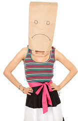 woman in sad ecological paper bag on head