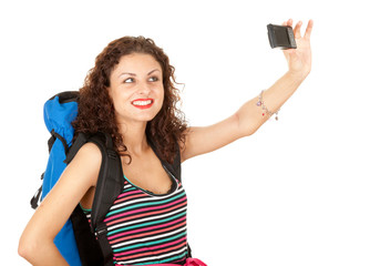 female backpacker with photo camera