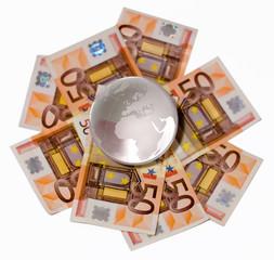 Bola del mundo de cristal con enfoque a europa y Africa